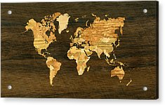 Wooden World Map Acrylic Print by Hakon Soreide