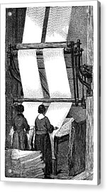 Wool Folding Machine Acrylic Print by Science Photo Library