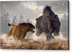 Woolly Rhino And Cave Lion Acrylic Print by Daniel Eskridge