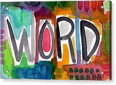 Word- Colorful Abstract Pop Art Acrylic Print by Linda Woods