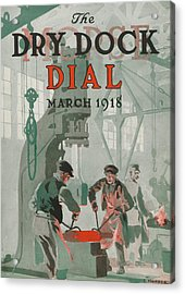 Workers At Shipyard Acrylic Print by Edward Hopper