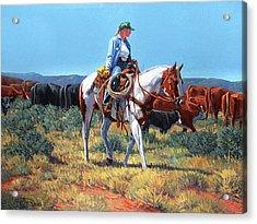 Working Cowgirl Acrylic Print by Randy Follis