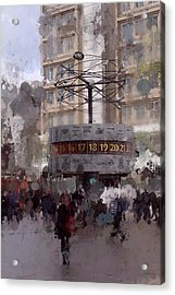World Time Clock Berlin Acrylic Print by Stefan Kuhn