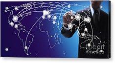 World Economies Map Acrylic Print by Atiketta Sangasaeng