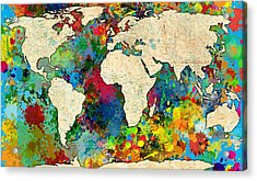 World Map Colorful Acrylic Print by Gary Grayson
