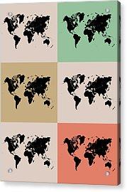 World Map Grid Poster 2 Acrylic Print by Naxart Studio