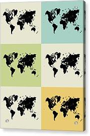 World Map Grid Poster Acrylic Print by Naxart Studio