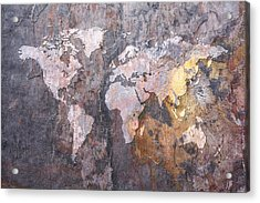 World Map On Stone Background Acrylic Print by Michael Tompsett