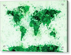 World Map Paint Splashes Green Acrylic Print by Michael Tompsett