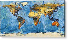 World Map Painterly Acrylic Print by Pixel Chimp