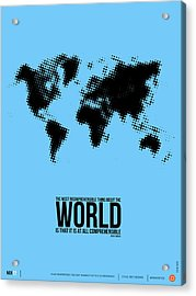 World Map Poster Acrylic Print by Naxart Studio