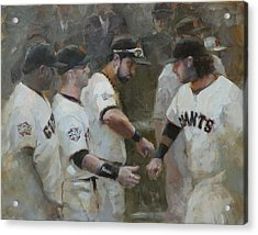 World Series Fist Bump Acrylic Print by Darren Kerr