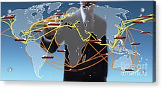 World Shipping Routes Map Acrylic Print by Atiketta Sangasaeng