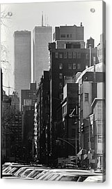 World Trade Center Street Scene - Black And White Acrylic Print by Steven Hlavac
