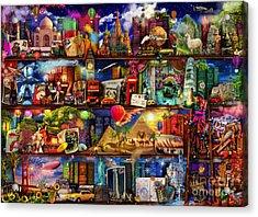 World Travel Book Shelf Acrylic Print by Aimee Stewart