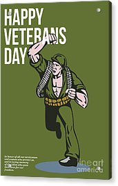 World War Two Veterans Day Soldier Card Acrylic Print by Aloysius Patrimonio