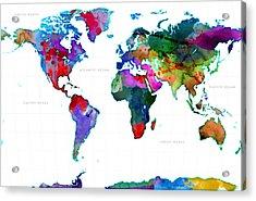 World Watercolor Map #3 Acrylic Print by Gary Grayson