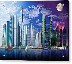 Worlds Tallest Buildings Acrylic Print by Garry Walton