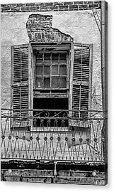 Worn Window - Bw Acrylic Print by Christopher Holmes