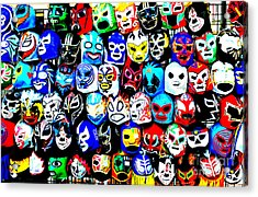Wrestling Masks Of Lucha Libre Altered Acrylic Print by Jim Fitzpatrick
