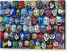 Wrestling Masks Of Lucha Libre Acrylic Print by Jim Fitzpatrick