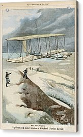 Wright Brothers At Kitty Hawk Acrylic Print by Mary Evans Picture Library
