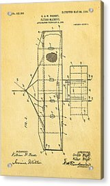 Wright Brothers Flying Machine Patent Art 2 1906 Acrylic Print by Ian Monk