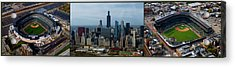 Wrigley And Us Cellular Fields Chicago Baseball Parks 3 Panel Composite 01 Acrylic Print by Thomas Woolworth