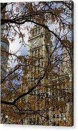 Wrigley Building In Autumn  Acrylic Print by Leslie Leda
