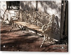 Wrought Iron Bench In White Acrylic Print by Jennifer Apffel
