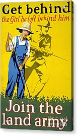 Wwi Join The Land Army 1918 Acrylic Print by Photo Researchers