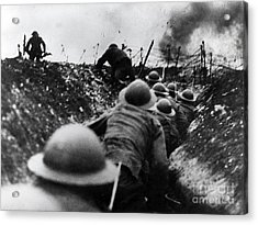Wwi Over The Top Trench Warfare Acrylic Print by Photo Researchers