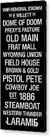 Wyoming College Town Wall Art Acrylic Print by Replay Photos