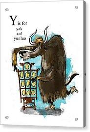 Y Is For Yak Acrylic Print by Sean Hagan