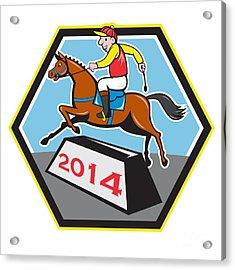 Year Of Horse 2014 Jockey Jumping Cartoon Acrylic Print by Aloysius Patrimonio