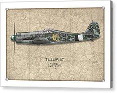 Yellow 10 Focke-wulf Fw190d - Map Background Acrylic Print by Craig Tinder
