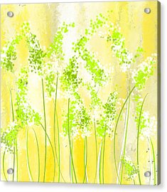 Yellow And Green Art Acrylic Print by Lourry Legarde