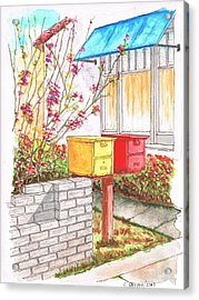 Yellow And Red Mail Boxes In Rangely Ave - West Hollywood - California Acrylic Print by Carlos G Groppa