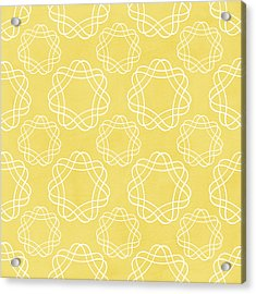 Yellow And White Geometric Floral  Acrylic Print by Linda Woods
