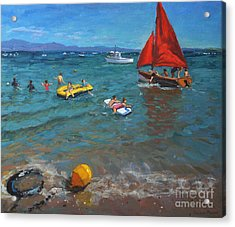 Yellow Buoy And Red Sails Acrylic Print by Andrew Macara