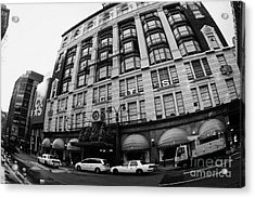yellow cabs wait outside Macys at Broadway and 34th Street Herald Square new york Acrylic Print by Joe Fox