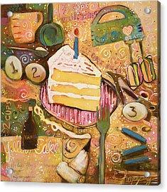 Yellow Cake Recipe Acrylic Print by Jen Norton