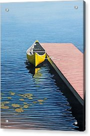 Yellow Canoe Acrylic Print by Kenneth M  Kirsch