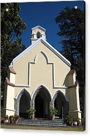 Yellow Church Blue Sky Acrylic Print by Russell Smidt