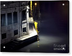 Yellow Light On The Grand Canal Acrylic Print by John Rizzuto