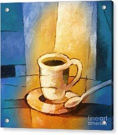 Yellow Morning Cup Acrylic Print by Lutz Baar