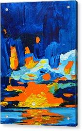 Yellow Orange Blue Sunset Landscape Acrylic Print by Patricia Awapara