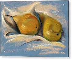 Yellow Pears On Blue Paper Pastel Drawing Acrylic Print by MM Anderson