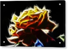 Yellow Rose Series - Neon Fractal Acrylic Print by Lilia D