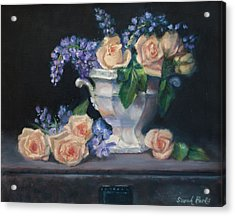 Yellow Roses Acrylic Print by Sarah Parks